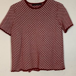 Zara Knit- Red Knit Short Sleeve Top size Medium